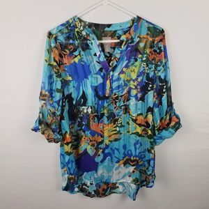 Chicos Top  Tropical Roll Tab Sleeves Sheer #284